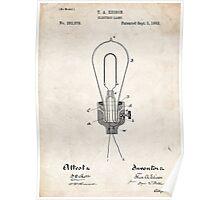 Edison Light Bulb Invention US Patent Art Poster