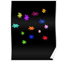 Twelve plus one cheerful flowers transparent background Poster