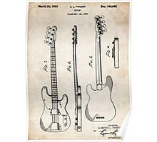 Fender Precision Bass Guitar US Patent Art Poster