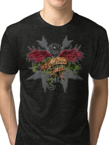 Obsidian Key - Winged Key, Skull and V shaped guitars - Progressive Rock Metal Music Tri-blend T-Shirt