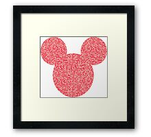 Mouse Pink Floral Patterned Silhouette Framed Print