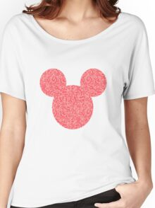 Mouse Pink Floral Patterned Silhouette Women's Relaxed Fit T-Shirt