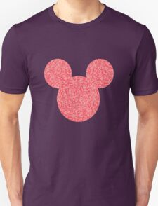 Mouse Pink Floral Patterned Silhouette Unisex T-Shirt