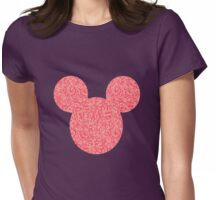Mouse Pink Floral Patterned Silhouette Womens Fitted T-Shirt
