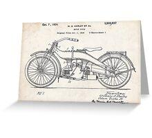 Harley-Davidson Motorcycle US Patent Art 1924 Greeting Card