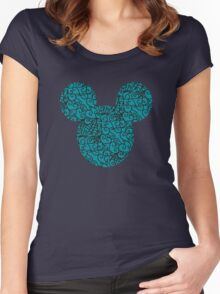 Mouse Spiral Patterned Turquoise Silhouette Women's Fitted Scoop T-Shirt