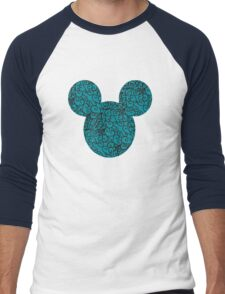 Mouse Spiral Patterned Turquoise Silhouette Men's Baseball ¾ T-Shirt