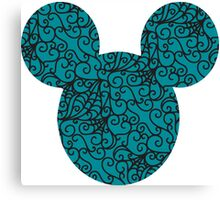Mouse Spiral Patterned Turquoise Silhouette Canvas Print