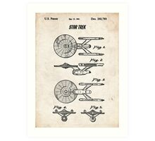 Star Trek USS Enterprise US Patent Art Spacecraft Rocket Kirk Spock Art Print