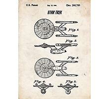 Star Trek USS Enterprise US Patent Art Spacecraft Rocket Kirk Spock Photographic Print