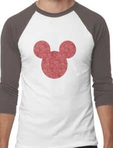Mouse Red Detailed Patterned Silhouette Men's Baseball ¾ T-Shirt