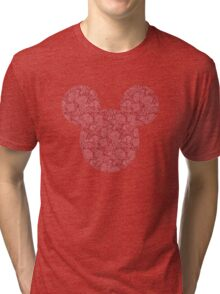 Mouse Red Detailed Patterned Silhouette Tri-blend T-Shirt