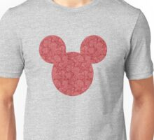 Mouse Red Detailed Patterned Silhouette Unisex T-Shirt