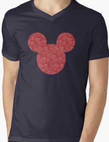 Mouse Red Detailed Patterned Silhouette Mens V-Neck T-Shirt