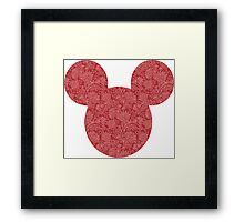 Mouse Red Detailed Patterned Silhouette Framed Print