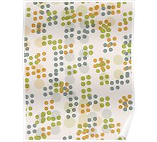 Pattern 018  Retro Dots, Green, Yellow, And Blue  Poster