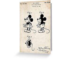 Mickey Mouse US Patent Art Walt Disney Cartoon 1930 Greeting Card