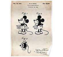 Mickey Mouse US Patent Art Walt Disney Cartoon 1930 Poster