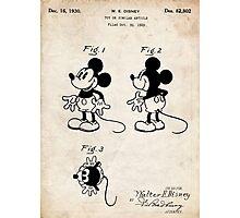 Mickey Mouse US Patent Art Walt Disney Cartoon 1930 Photographic Print