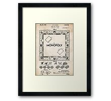 Monopoly Board Game US Patent Art 1935 Framed Print