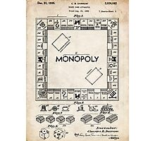 Monopoly Board Game US Patent Art 1935 Photographic Print