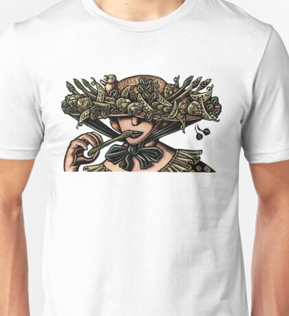 Woman in Hat Decorated with Vegetables Unisex T-Shirt