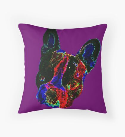 French bulldog, Vincent the frenchie - pop art Throw Pillow