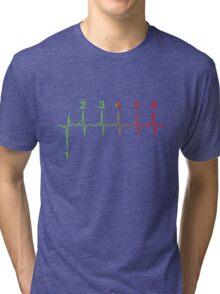 Motorcycle Heartbeat Gear Shift RPM EKG Tri-blend T-Shirt