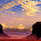 Morning Panorama in Monument Valley by Nancy Richard