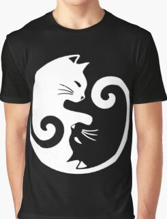Yin Yang Cat Graphic T-Shirt