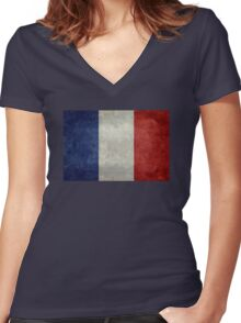 Flag of France, vintage retro style Women's Fitted V-Neck T-Shirt