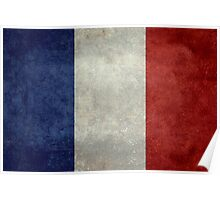 Flag of France, vintage retro style Poster