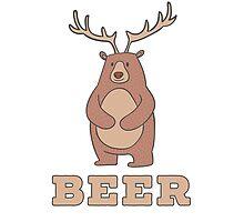 Funny Beer Bear Deer T Shirt Photographic Print