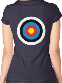 Bulls Eye, Right on Target, Roundel, Archery, on NAVY Women's Fitted Scoop T-Shirt