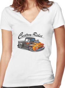 cartoon hotrod truck Women's Fitted V-Neck T-Shirt