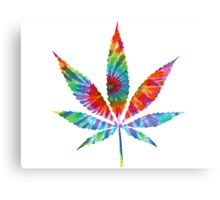 Tie Dye Cannabis Leaf Canvas Print