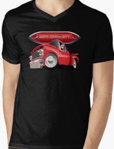 Cartoon retro pickup Mens V-Neck T-Shirt
