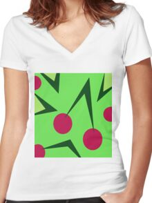 Cherry by Moma Women's Fitted V-Neck T-Shirt