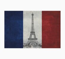 Vintage national flag of France with Eiffel Tower insert One Piece - Long Sleeve