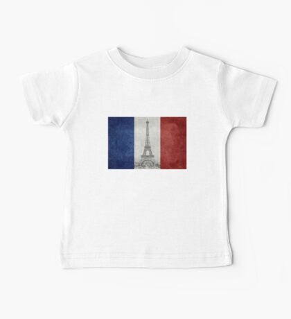Vintage national flag of France with Eiffel Tower insert Baby Tee