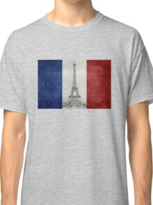 Vintage national flag of France with Eiffel Tower insert Classic T-Shirt