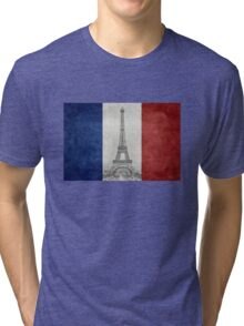 Vintage national flag of France with Eiffel Tower insert Tri-blend T-Shirt