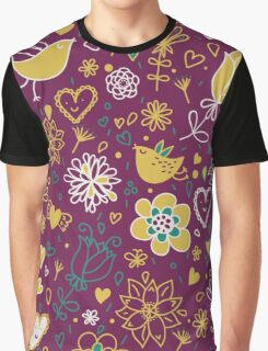 Plum and Mustard Whimsical Birds and Flowers Graphic T-Shirt