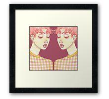 mirrored Bubblegum Boy with purple back drop Framed Print