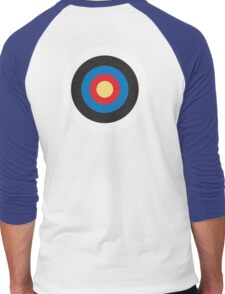 Bulls Eye, Right on Target, Roundel, Archery, Pop, Mod, on BLUE Men's Baseball ¾ T-Shirt