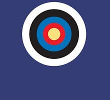 Bulls Eye, Right on Target, Roundel, Archery, Pop, Mod, on BLUE Unisex T-Shirt
