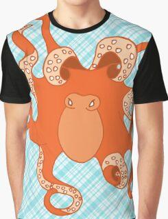 Orange Octopus on Blue Plaid Graphic T-Shirt