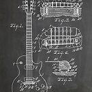 Gibson Les Paul  guitar us patent art 1955 blackboard by Steve Chambers