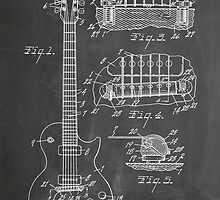 Gibson Les Paul  guitar us patent art 1955 blackboard by Steve Chambers