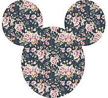 Mouse Vintage Floral Patterned Silhouette Photographic Print